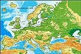 Postereck Poster 1031 - Europa Karte, Laender Hauptstaedte Englische Schrift Größe 4:3-40.0 cm x 30.0 cm