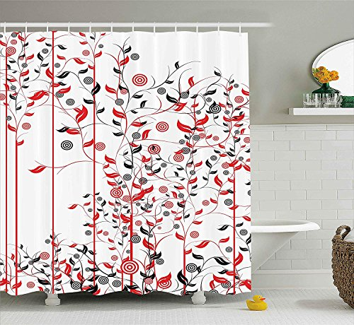 Bronze Ivy Leaf (JIEKEIO Floral Shower Curtain, Romantic Abstract Flowers Ivy Swirls Image with Leaves in Nature Artwork, Fabric Bathroom Decor Set with Hooks,60 * 72inch, Red Black and White)