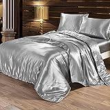 Seide Bettwäsche Set Bettbezug Seide Kissenbezug Spannbetttuch Satin Modern Leicht Weich Betten Set bequem (200x230cm, Silber)
