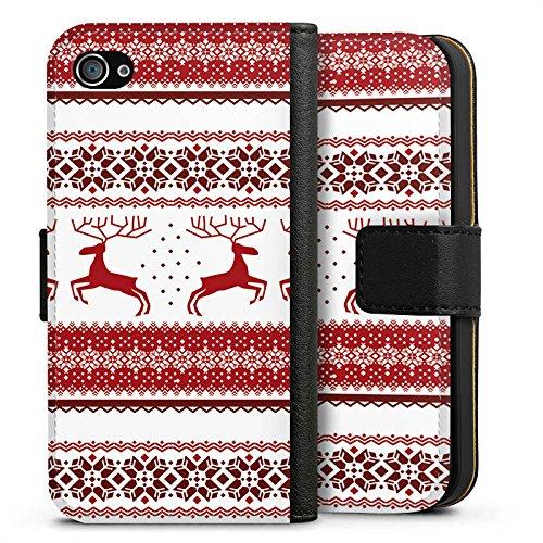 Apple iPhone X Silikon Hülle Case Schutzhülle Rentiere Weihnachten Norwegermuster Rot Sideflip Tasche schwarz