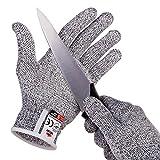 nocry resistente al corte guantes con secure-grip micropuntos y nivel de corte 5PROTECCIÓN. Cómodo. De calidad alimentaria. Incluye ecookbook., Gris,