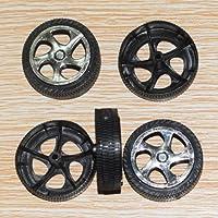 kxrzu Kunststoff-Rad Spielzeug Rad Auto LKW Modell Drohne Modell Spielzeug Reifen (schwarz