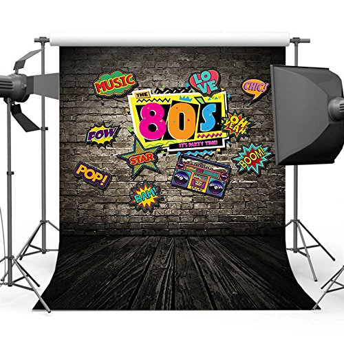mehofoto Hip Hop Hintergrund 5x 2,1Vinyl 80er Party Motto Deko Graffiti Vintage Brick Wand Holz Boden Fotografie Hintergrund Hintergründe