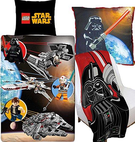 BERONAGE Großes Bundle - Angebot - Lego Star Wars Kinder Bettwäsche + Kissen + Fleece-Decke im Set - Neu & Ovp in deutscher Standardgröße