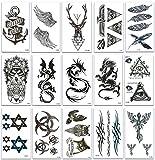 Chileeany Lot de 15 Tatouages Temporaire Tattoos Étanche 105x60 mm,Tatouage temporaire pour homme femme adulte,motifs variés