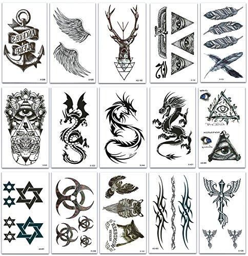 Chileeany set di 15 fogli tatuaggi temporanei,impermeabile tatuaggio temporaneo per adulti uomo donne 105×60 mm (nero)