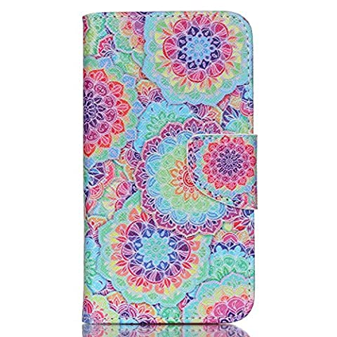 Lenny 2 Case,Wiko Lenny 2 Case, Cozy Hut Premium PU Leather Wallet Embedded Flip Magnetic Detachable Close Lock with [Colorful-Pattern] and [Credit Card Holder Slots] Smart Standing Folio Book Style Type Stylish Ultra Slim Fit Protective Folder Case Cover Skin for Wiko Lenny 2 - kaleidoscope