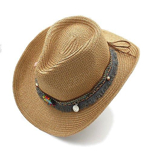 Bangxiu Dame Straw Hat Hollow Western Cowboy-Hut der Männer der Handarbeit-Frauen für Gentleman Western-Wort-Cowgirl-Jazz-Kappen-Sommer-Stroh-Strand-Sonnenhut für Tourismus-Strand-Einkaufskirche