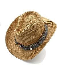 Gr Handarbeit Sommer Frauen Männer Sommer Stroh Strand Sonnenhut Hollow Western Cowboy Hut Western Wort Cowgirl Jazz Cap (Color : 1, Größe : 58CM)