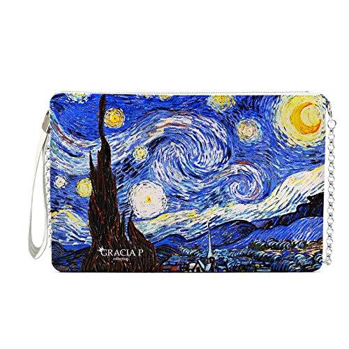 CASEONE Gracia P. Pochette da Donna in Pelle o Ecopelle Van Gogh Notte Stellata (Finta pelle)