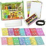 Juego de stencil - Kit de dibujo de stencils de 106 piezas de StenzTime | Juguete educativo y kit de creatividad ideal | Stencils de máscaras | Stencils de letras | Stencils de animales