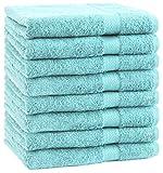 Betz 8 Stück Handtücher Set Handtuch Premium 100% Baumwolle 8 Stück Handtuch Größe 50x100 cm Farbe türkis