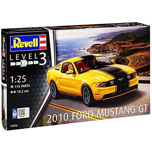 Revell Ford Mustang V GT Coupe Gelb mit Schwarzen Streifen 5. Generation 2004-2014 07046 Bausatz Kit 1/25 1/24 Modell Auto (Modell-auto-kits Ford Mustang)