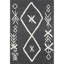 """A2Z–Alfombra (160x 230cm) (5ft4""""x 7ft 8) color gris oscuro 5534) moderno y tradicional marroquí Shaggy colección vida contemporáneo y dormitorio suave Shaggy área alfombra, alfombra"""