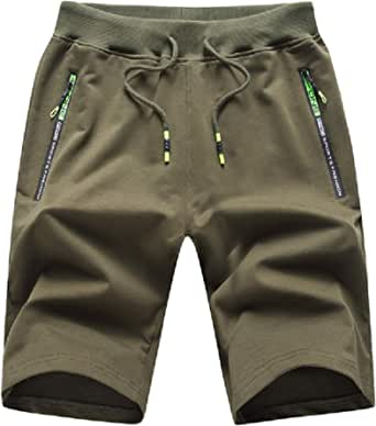 ZOXOZ Mens Shorts Summer Sports Cotton with Zip Pockets Elasticated Waist