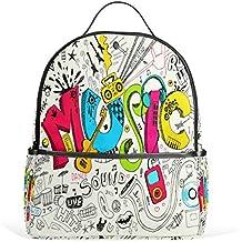 ALAZA Música Divertida Graffiti Mochila Doodle por School Bookbag