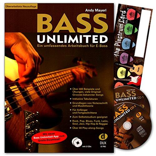Bass Unlimited - umfassendes Arbeitsbuch für E-Bass für E-Bass mit 2 CDs, mit Musik-Schubert Plektrum-Card© - Überarbeitete Neuauflage - DUX790-9783934958500