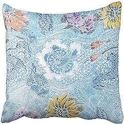 CHSUNHEY Fodera per Cuscino Decorativo Colorful Abstract The Beautiful of Malaysian And Indonesian Batik Pattern Asian Pillowcase Case 18x18 inch,Eco-Friendly Print