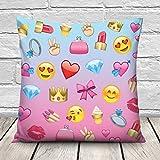 Lustige Kissenhülle Kissen Bezug Kopfkissenbezug 45 x 45cm NEU Emoji Girl [002]