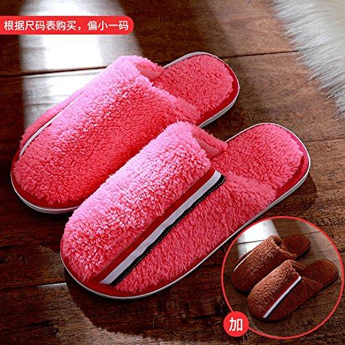 DogHaccd pantofole,Pantofole di cotone femmina inverno spessa coperta coppie maschio soggiorno anti-slittamento peluche caldo pantofole Il rosso2