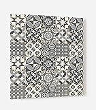 Impression Murale - Fond de hotte, crédence de cuisine en Panneau composite aluminium avec fixation adhésive'Carreaux de ciments motif géométrique' L. 60 x H. 70 cm - Epaisseur 3 mm