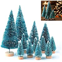 LATERN 28Pcs Mini Model Snow Trees Frost Trees Bottle Brush Trees Plastic Winter Snow Ornaments Tabletop Model Trees for DIY Room Decor Home Table Top Decoration Diorama Models