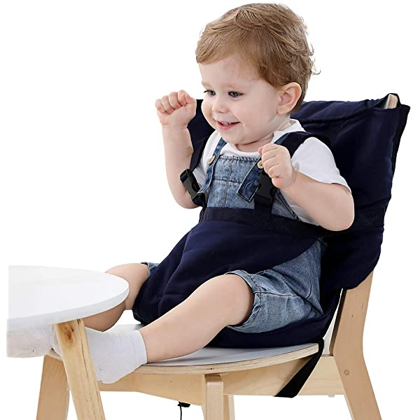 BAINA Baby Chair Booster Infant Portable Feeding Safety Belt Seat High Chair Harness Carrier Coffee