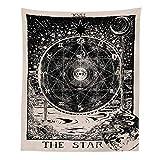 Gopumchy Schwarz-Weiß Mond Sonne Stern Astrologie Tapestry Psychedelic Tapisserie Wandtuch Hippie Deko von Wand Zimmer Indisch Wandbehang Picnic Throw, Wand Deko,Wohnheim Dekor Muster1 150 * 100cm