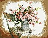 Diamond Vollbedeckung mit Holzrahmen Painting Set Bild 40 x 50 Diamant Malerei Stickerei Handarbeit Basteln Mosaik Steine Blumen Korb Haus am Bach (GJ032)