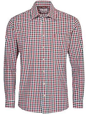 Almsach Trachtenhemd Bastl Regular Fit Mehrfarbig in Rot und Dunkelgrün Inklusive Volksfestfinder