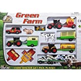 IndusBay Complete Farm Toy Set With Die Cast Farm Tractor, Trailer, Harvester , Farm Animals, Milk Truck And More - Set Of 13
