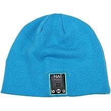 Bonnet Bluetooth Sans Fil Avec Ecouteurs Mains Libres Casque Stéréo Chapeaux d'Hiver Bonnet Musique en Coton (Bleu)