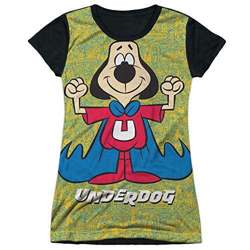 Underdog Cartoon Superhero TV Show Super Flex Juniors Black Back T-Shirt Tee