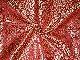 Schwere Brokat Stoff rot X Metallic Gold Farbe 91,4cm by