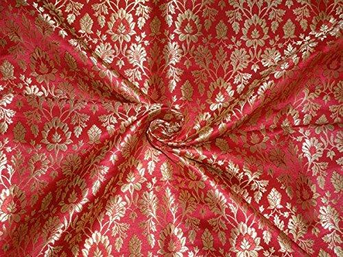 Schwere Brokat Stoff rot X Metallic Gold Farbe 91,4cm by the Yard–Hobby, Home Decor, Nähen, Mode, Puppe Kleid, Einrichtung, innen.