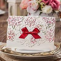 VStoy Kit di taglio del laser carte di nozze Inviti merletto del fiore colorato stile Invito Cartoncino per la festa nuziale rifornimenti di favori con Red Bowknot del nastro di compleanno invita carta busta e Seal 20