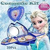 Waroomss Disney 39PCS Mädchen-Kosmetikspielset mit Spiegel | Waschbar & nicht giftig | Frozen Princess Real Makeup Kit mit Etui | Ideales Geschenk für Kinder