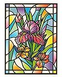 dpr. Fensterbild Tiffany Optik Lilie Blumen Zart beglimmert statisch selbsthaftende Folie Fenstersticker Aufkleber