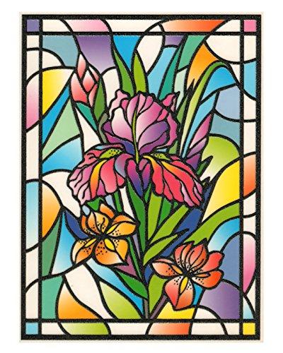 Tiffany Lilie (Fensterbild Tiffany Optik Lilie Blumen einseitig zart beglimmert statisch selbsthaftende Folie Fenstersticker Aufkleber)