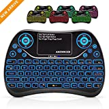 ANEWKODI Mini Tastiera Wireless con Touchpad Keyboard Retroilluminata Portatile con 7 colori Combo Ricaricabile per Smart TV, Android TV Box, HTPC, IPTV, XBOX360, PS3, PC, ecc.