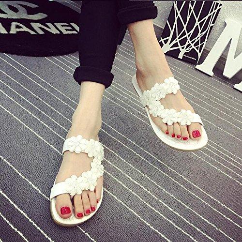 Pente avec sandales à talons hauts à bascule --- Women's Sandals Printemps Eté Club Chaussures PU Party & Robe de soirée Casual Flat Heel strass Fleur Noir Blanc --- Herringbone fashion sweet Sandals Blanc