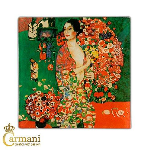 CARMANI - Plaque de verre carré avec Gustav Klimt 'Danser' peinture 13x13cm