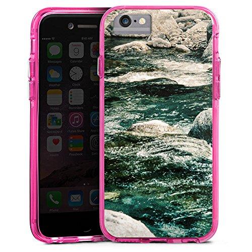 Apple iPhone 6 Bumper Hülle Bumper Case Glitzer Hülle Fels Stones Steine Bumper Case transparent pink
