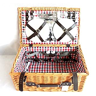 2 or 4 Person Luxury Wicker PICNIC BASKET Hamper Cutlery, Camping Outdoor Set (2 Person, Red lining)