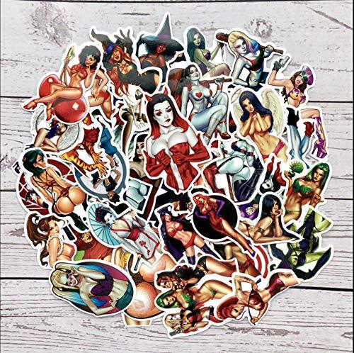 Teufel Vinyl Kostüm - Aufkleber für Laptop, Auto, Fahrrad, Motiv Teufel, Katze, Frau, Harley Quinn, 50 Stück
