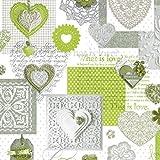 Wachstuch Tischdecke Meterware Love Herzen grün C146063 Größe wählbar in eckig rund oval (120 x 160 cm oval)