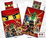 Biber Kinder Wende-Bettwäsche Lego Ninjago -' Motiv Champion Fire' - Neu & Ovp - 135 x 200cm + 80 x 80cm - 100% Baumwolle - Cole - Jay - Kai - Lloyd - Zane - Nya - Misako - Sensai Wu - Flanell - deutsche Standardgröße