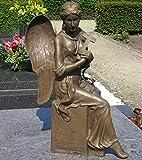 Thermobrass Bronzeskulptur sitzender Engel mit Kreuz Grabdekoration Dekorationsfigur Braun