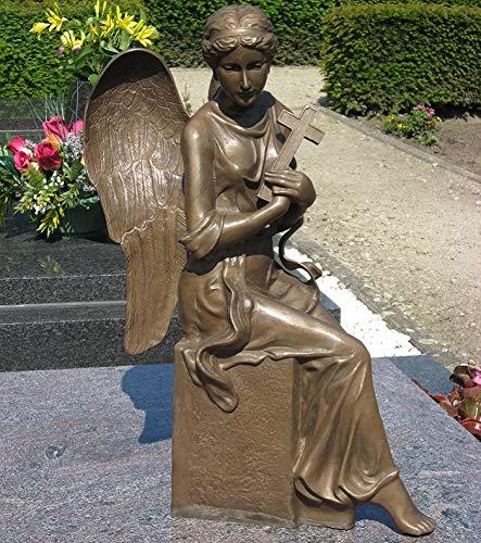 Thermobrass H.Packmor GmbH Bronzeskulptur sitzender Engel mit Kreuz Grabdekoration Dekorationsfigur Braun