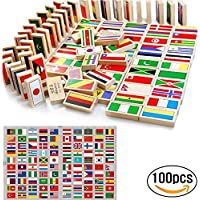 HW GLOBAL 100pcs Children World Flag Wooden Dominoes Set for Kids Building Blocks Racing Tile Games Toy